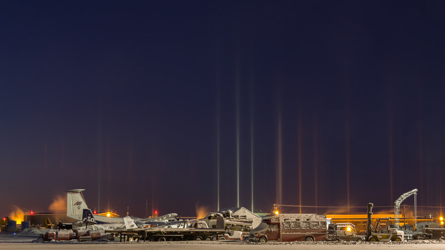 Photograph Yellowknife Airport Light Pillars by Ian Wills on 500px