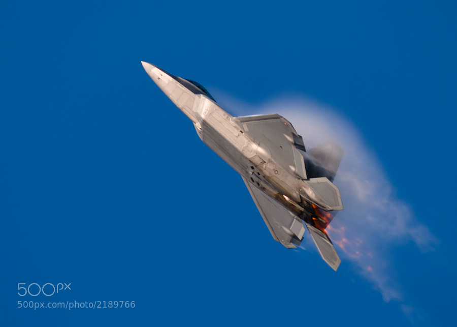 F-22A Raptor climbs in full afterburner