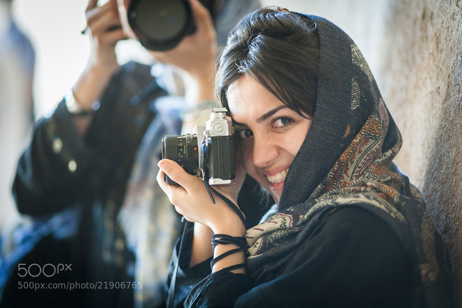 Photograph Iranian woman photographer in oldest Iranian mosque by Damon Lynch on 500px