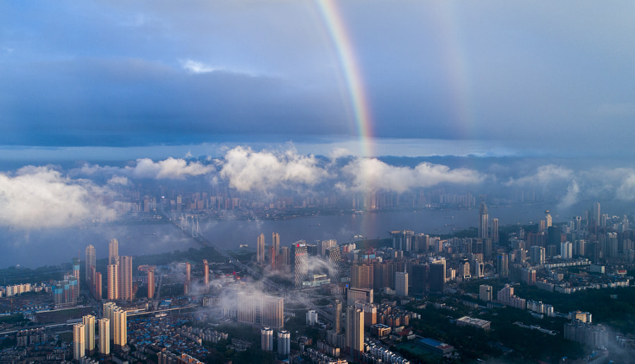 Aerial view of a rainbow over Yangtze River ,Wuhan city,china. by KeHao on 500px.com