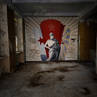 Mural in an abandoned Soviet flightschool in the former DDR.