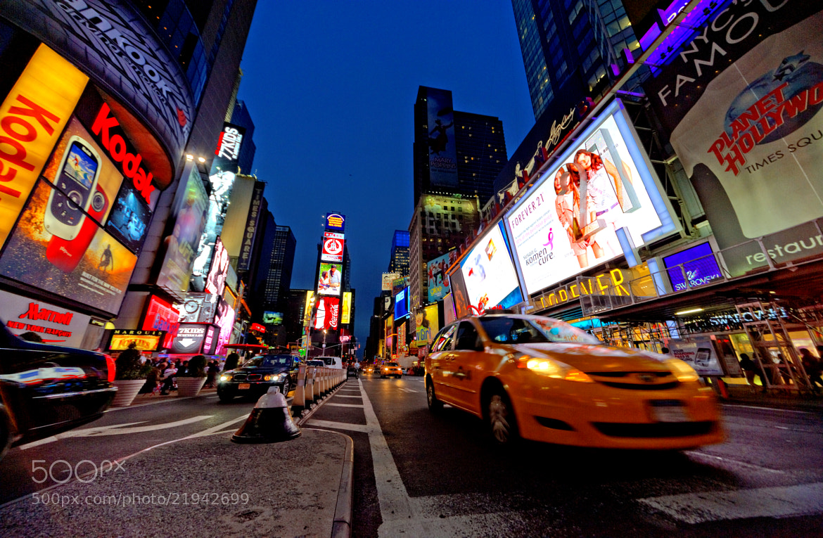 Photograph Times Square, The Crossroads of the World, with the famous yellow cab by Michael FRANCHITTI on 500px