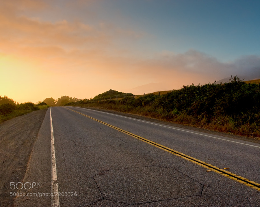 Travelling south on Pacific Coast Highway at sunset