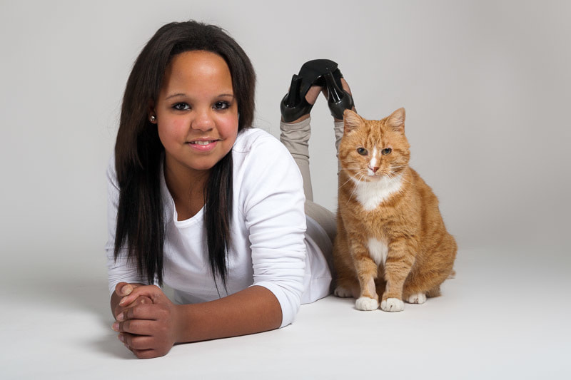 Cecilie and our curious cat