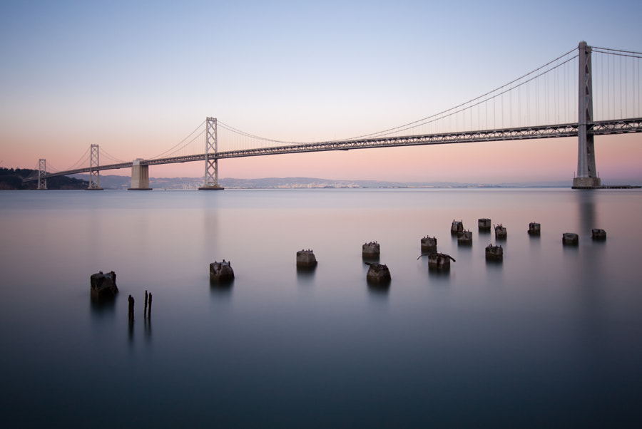 San Francisco-Oakland Bay Bridge at dusk