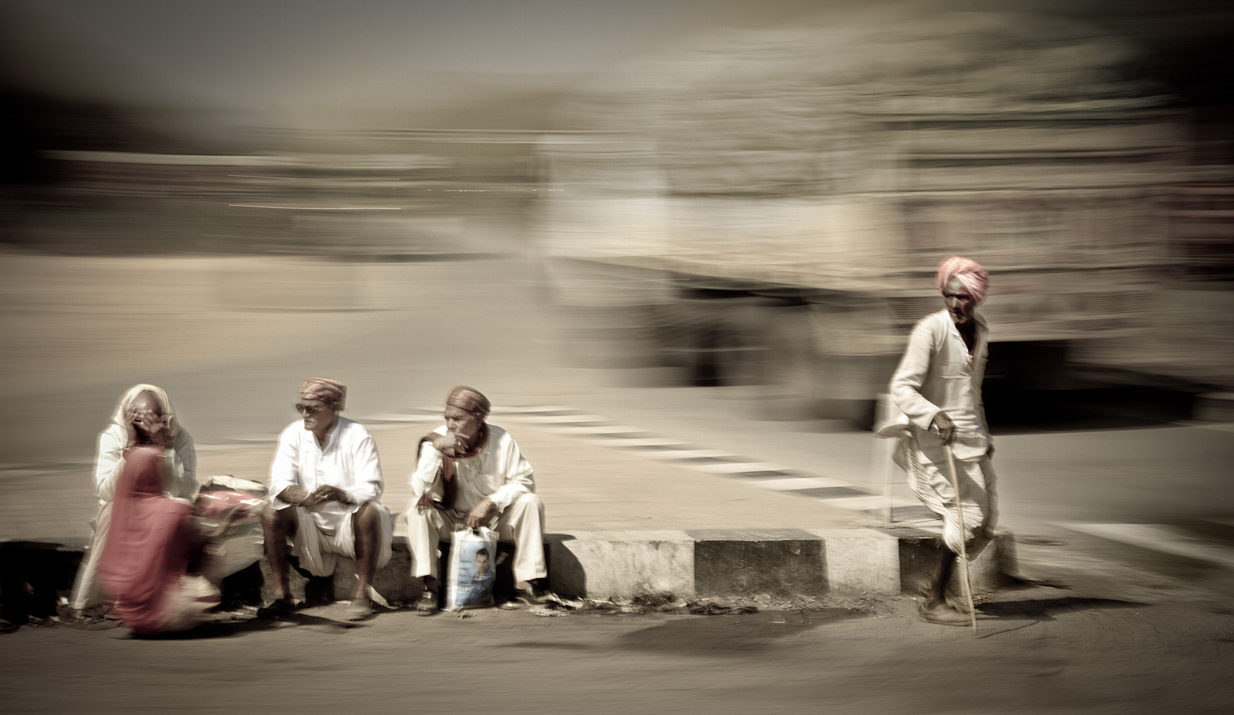 Photograph Four Men and a Woman - India In Motion - Udaipur - India by Sandy Gennrich on 500px