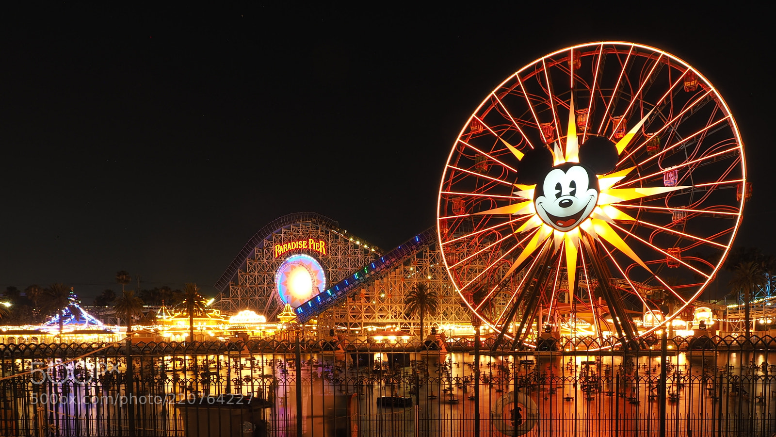 Paradise Pier at California aventure by night