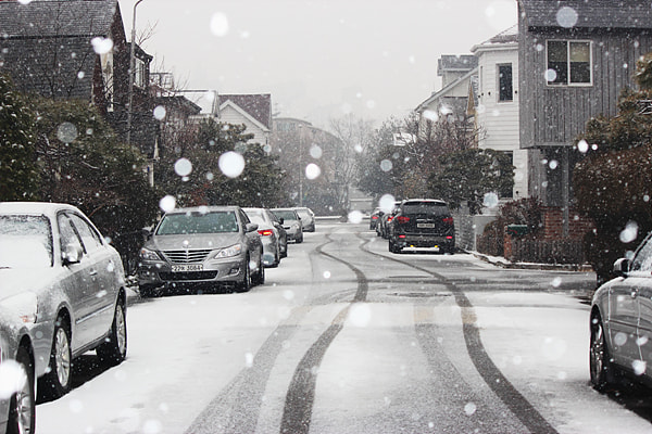 Photograph Snowing street by TY Kim on 500px