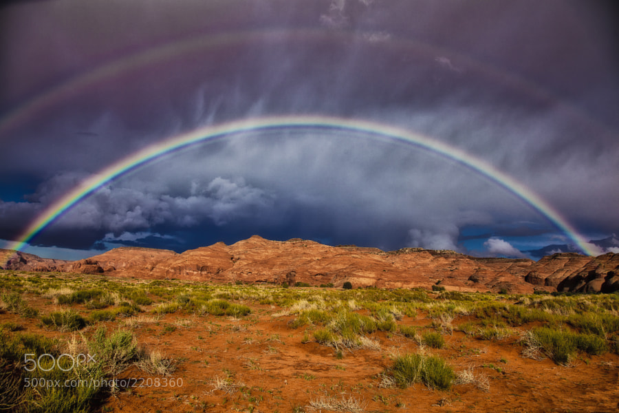 A double rainbow briefly gave us a magnificent light show in Mystery Valley, Utah.