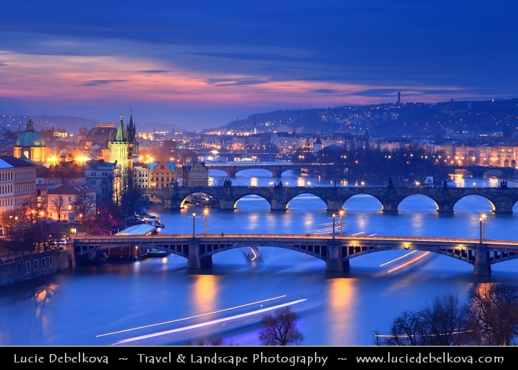 Photograph Czech Republic - Prague - Praha - UNESCO - Historical Center of Prague with Many Bridges over Vltava by Lucie Debelkova -  Travel Photography - www.luciedebelkova.com on 500px