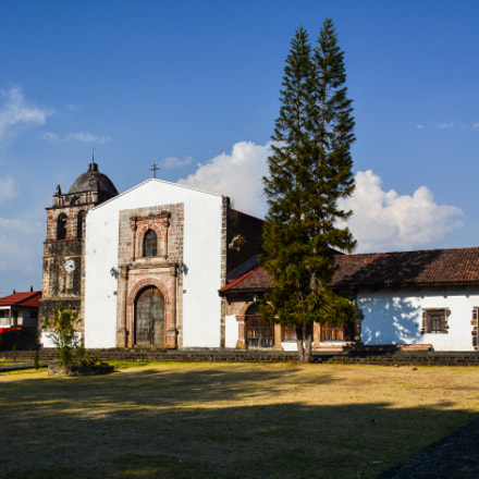 "Garden and Church. ""San Pedro"" Zacan Michoacan Mexico."