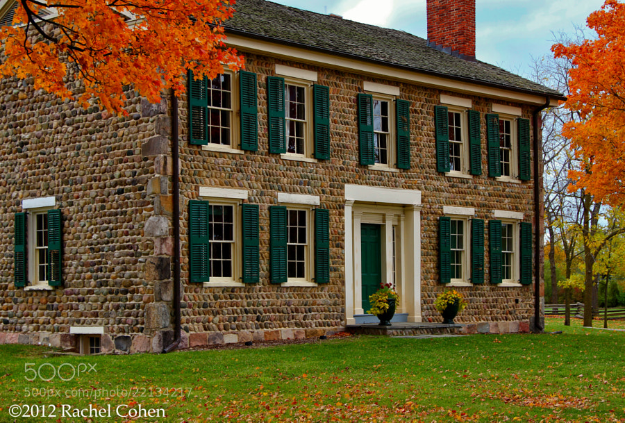 """Cobblestone Farm Autumn""  An historic wonder of stonework located in Ann Arbor Michigan!   Top it off with the gorgeous fall color of aged maple trees and you have sheer beauty both architecturally, and nature wise!!"