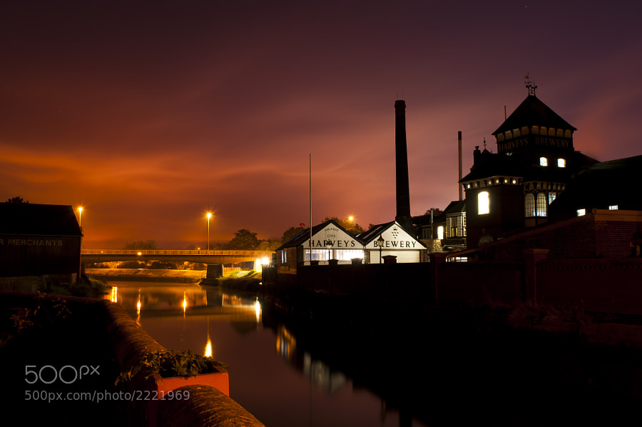 Was just going for an early morning walk along the river and wanted a quick shot of the river and sky. building is Harvey's brewery in Lewes UK. Shot just outside my front door at about 06:00hrs. Really loved the colour and shape of the sky.