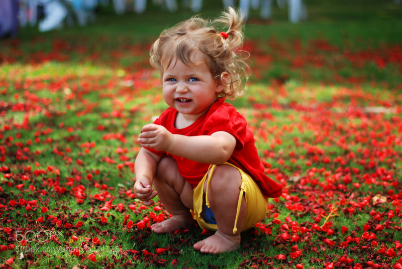 Girl in Flowers in Red