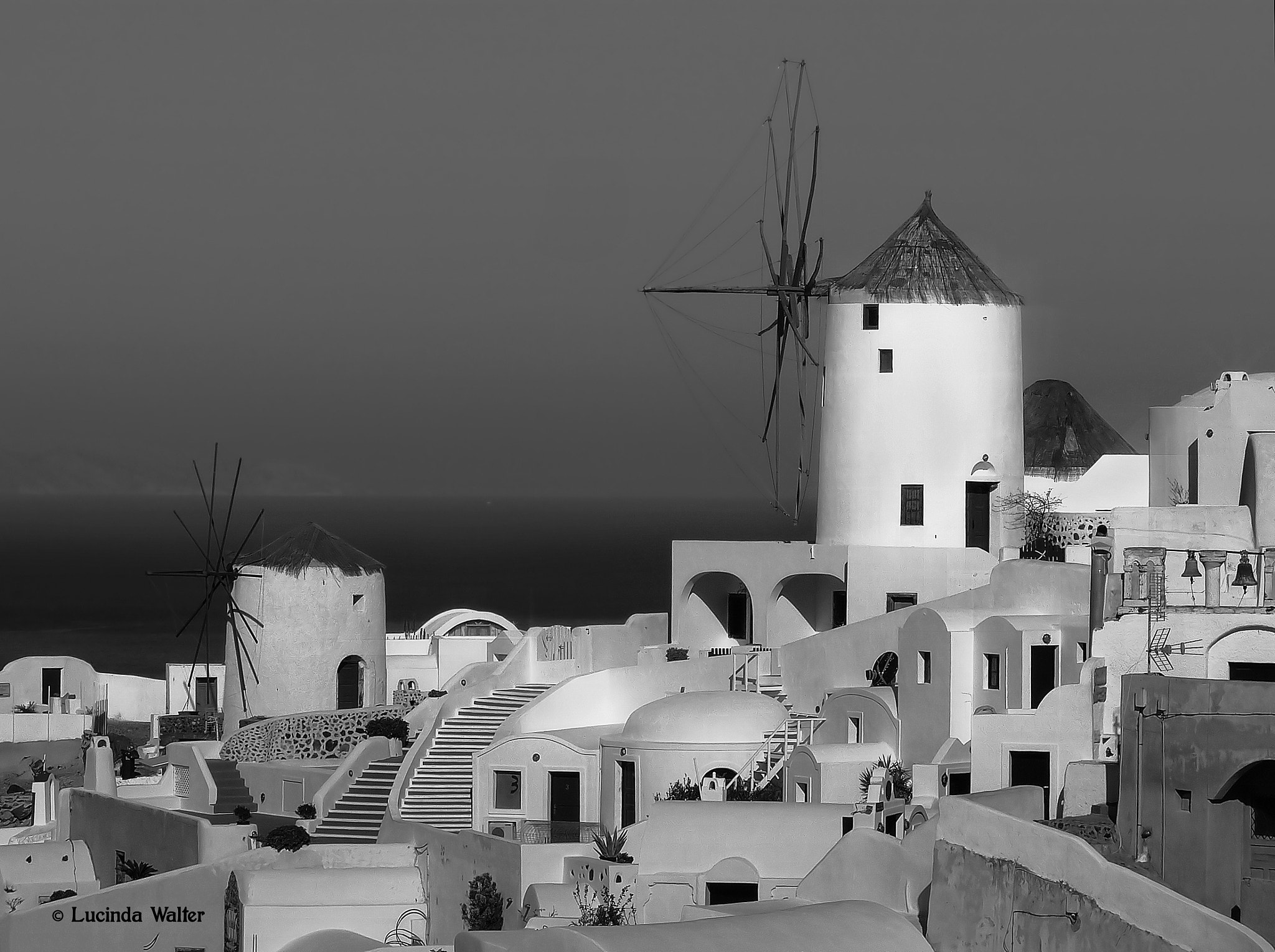 Photograph Windmills of Santorini ~ Black & White by Lucinda Walter on 500px