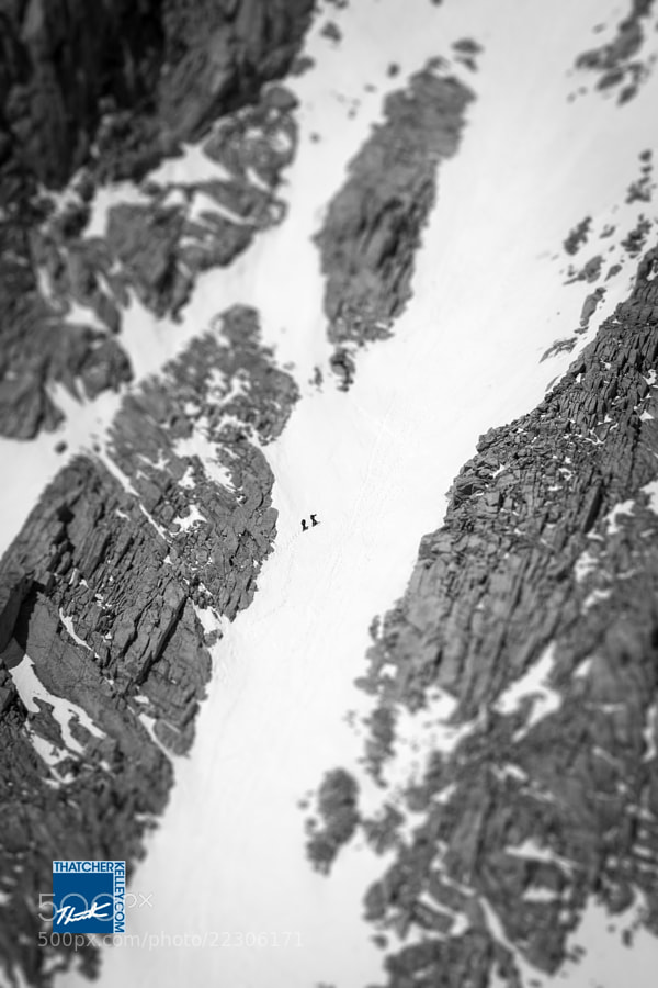 "Two climbers make their way up the ""Mountaineer's Route"" on Mount Whitney.  This far more adventurous side of the mountain provides solitude that the standard trail severely lacks."
