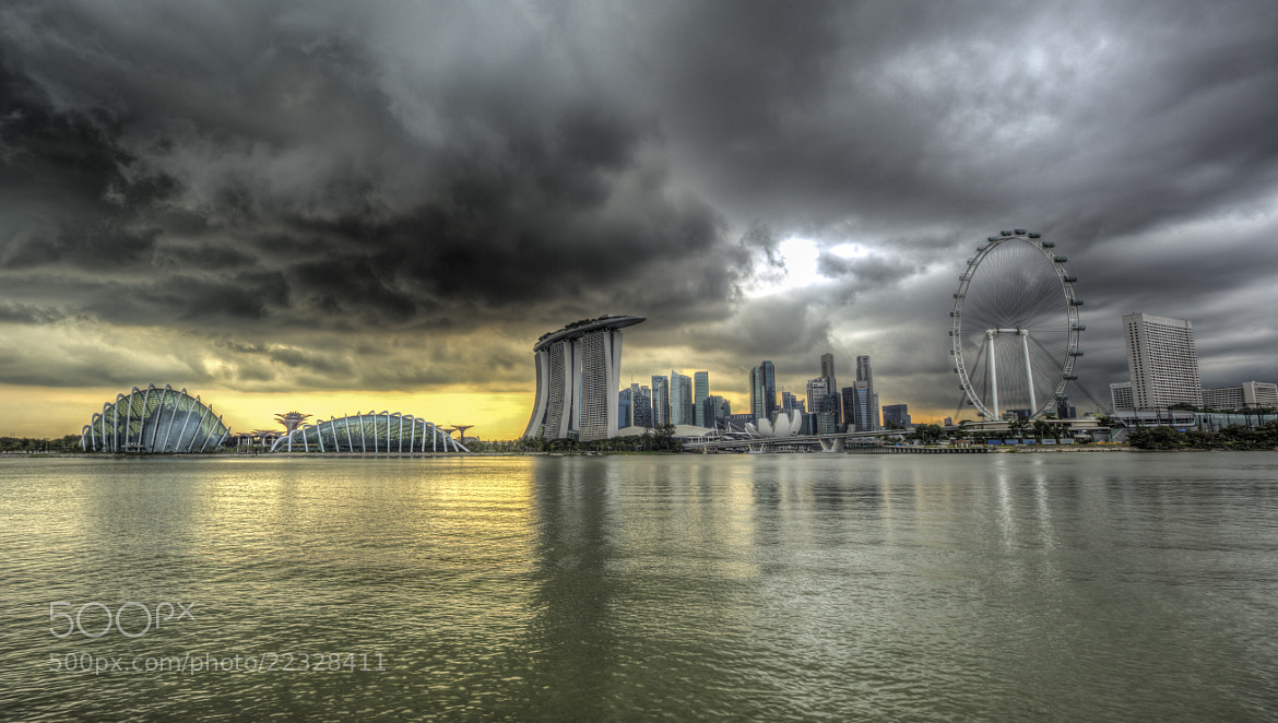 Photograph Singapore Skyline as the storm rolls in by Paul Cowell on 500px