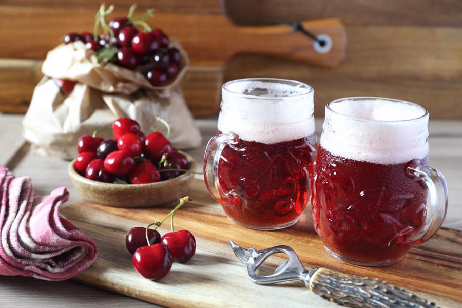 Light fruit craft beer and cherry by Julie Vinogradov on 500px.com