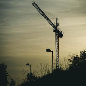 #grua #farolas #ciudad #cielo #atardecer #crane #lights #city #sunset #sky #salamanca #canon #eos5d