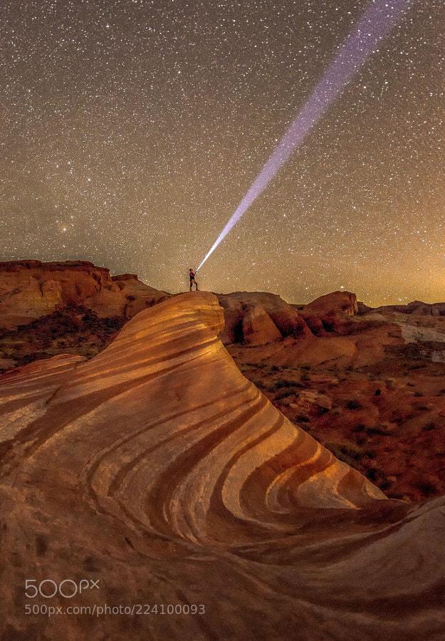 Starry Night in Fire Wave Rock