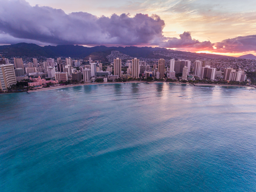 Aerial view of Waikiki and the Ocean in Hawaii by Kelly Headrick on 500px.com
