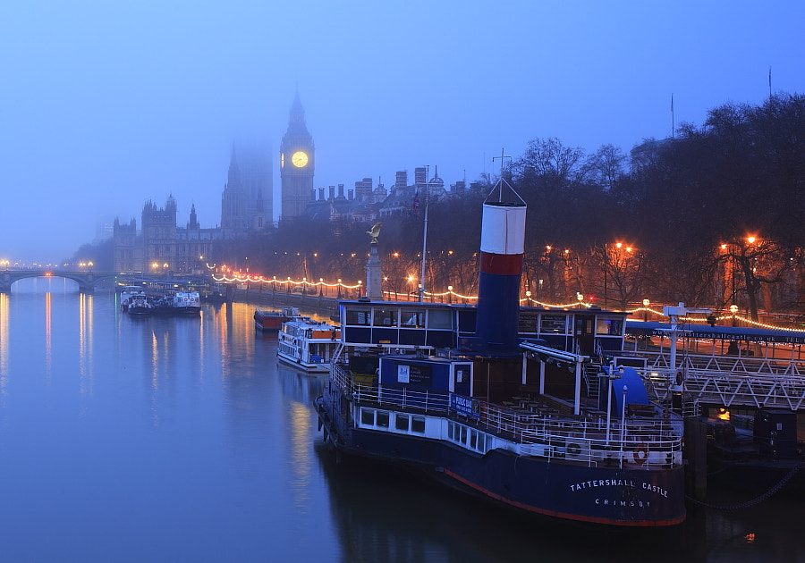 Tattershall Castle on a misty morning