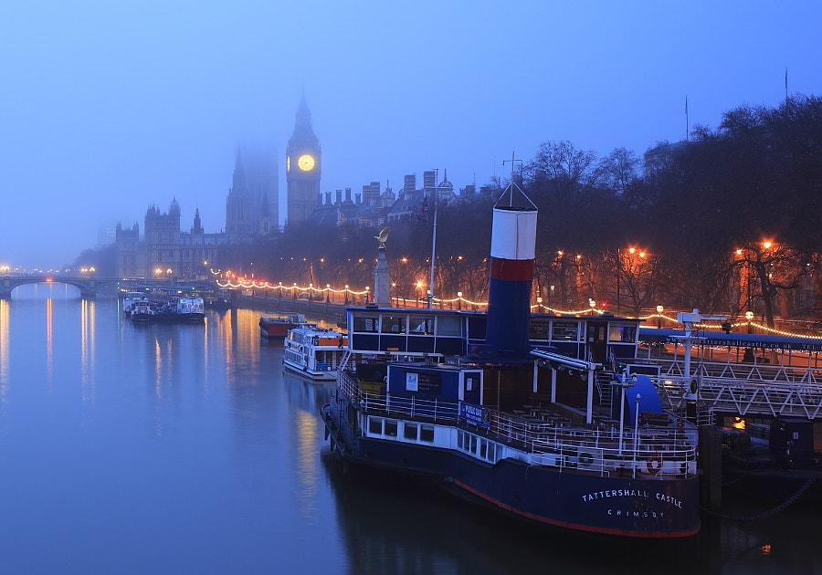 Tattershall Castle on a misty morning