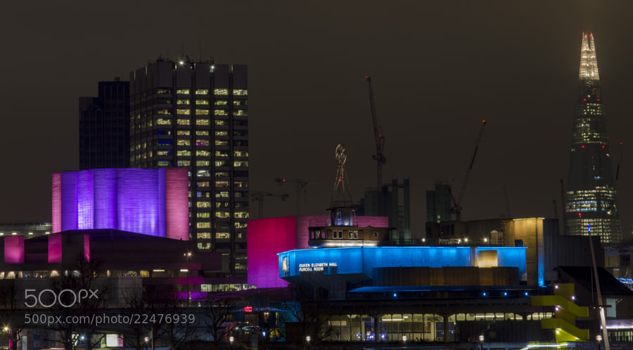 Night view from the Embankment (Hungerford Bridge) over Queen Elizabeth Hall showing the Shard in the background