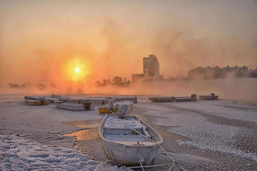 Photograph Sunrise at frozen river by Dante JKPix on 500px