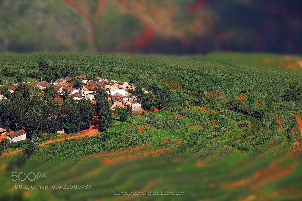 Photograph Red farmland with village,dongchuan,china by isarescheewin on 500px