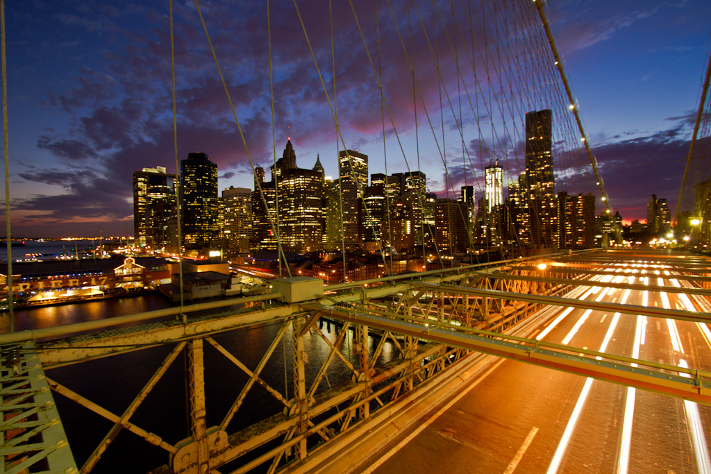 Photograph Brooklyn Bridge and Financial District at dusk by Thomas Richter on 500px