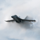 F/A-18F Super Hornet high speed pass resulting in the aircraft being engulfed in vapor. Photo taken at The Great Georgia Air Show