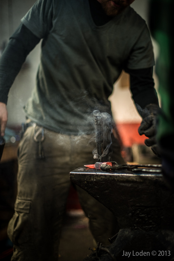 """And when the smoke and dust settled, there was a hammer.   My friend <a href=""""http://mpknives.com/wp/"""">Matthew Paul</a>, a blacksmith and knifemaker in NY state, was working on a Christmas present for his father: a claw hammer hand-forged from reclaimed steel cut from an old pick. The steel was heated, hammered, and manipulated into shape with hard work and skill.   See the rest of the series on Flickr for more:   <a href=""""http://www.flickr.com/photos/30940068@N02/sets/72157632324491220/"""">Holiday Hammering</a> on Flickr"""