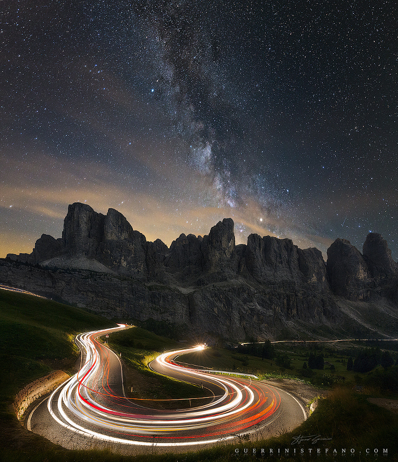 Light trails under the stars by Guerrini Stefano by Stefano Guerrini on 500px.com