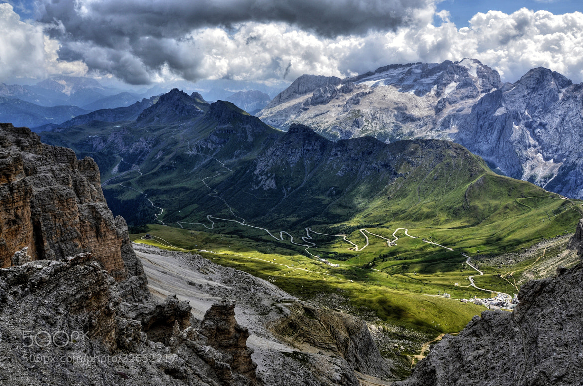 Photograph Mountain road and Marmolada by Adam J. on 500px