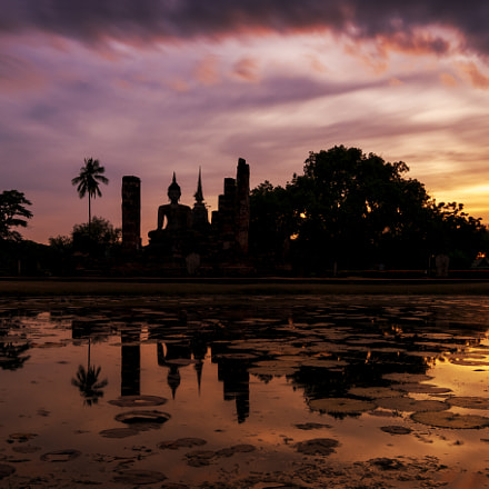 Big buddha in sunset at Sukhothai Historical Park, Sukhothai, Th
