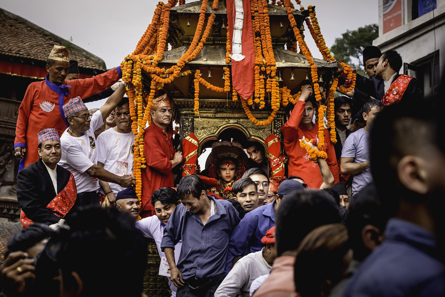 6 September 2017: Chariot of living goddess Kumari pulled by the local passing through Basantapur... by Rikesh Shakya on 500px.com