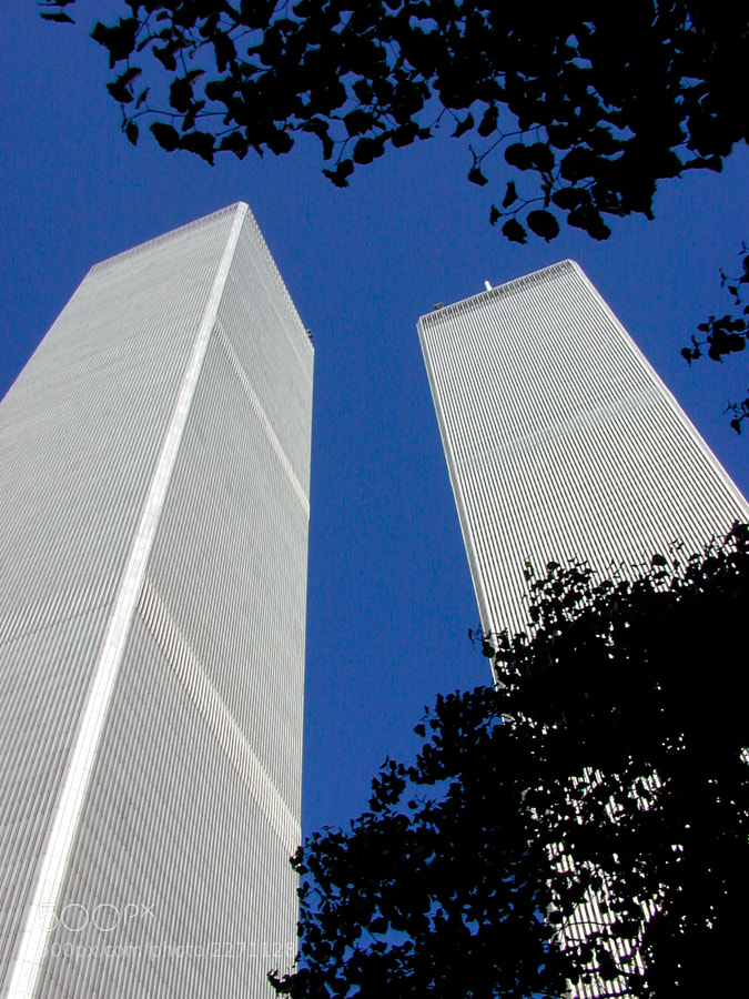 The World Trade Towers looking up upon entering the plaza from Church St.  