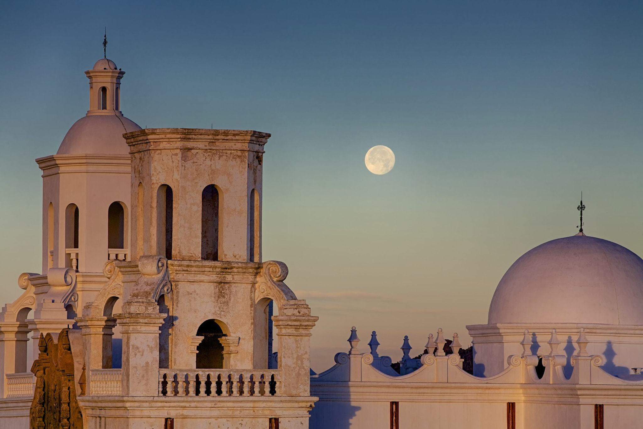 Photograph Moonset over San Xavier Mission by Don Seymour on 500px