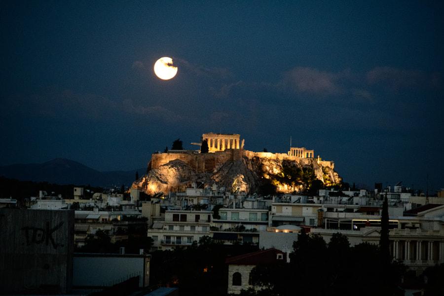 Moon over Acropolis