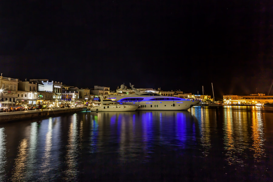 Ermoupolis Harbour by night by Eleni Synodinos on 500px.com