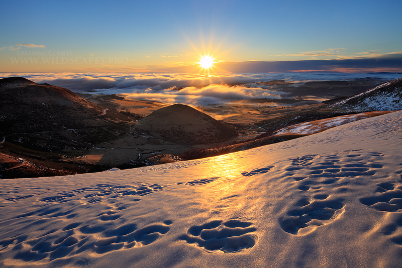 Photograph Sunburst over the Winter Land by Maxime Courty on 500px