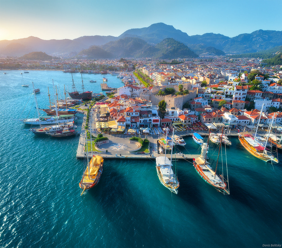 Aerial view of boats and beautiful Marmaris by Denys Bilytskyi on 500px.com