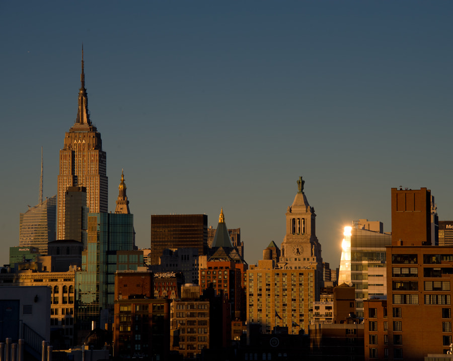 New York City at sunset, shot in Manhattan from the top of the Bowery