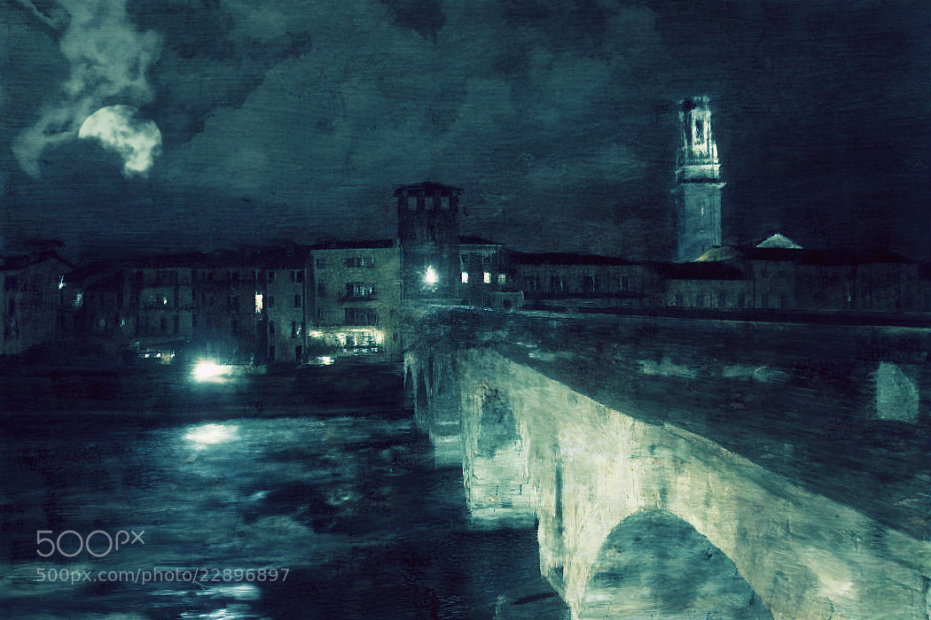 Photograph Verona, Ponte Pietra paint style by Vittorio Chiampan on 500px