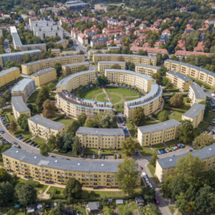 Aerial view of apartment houses in concentric circles in Leipzig. Germany