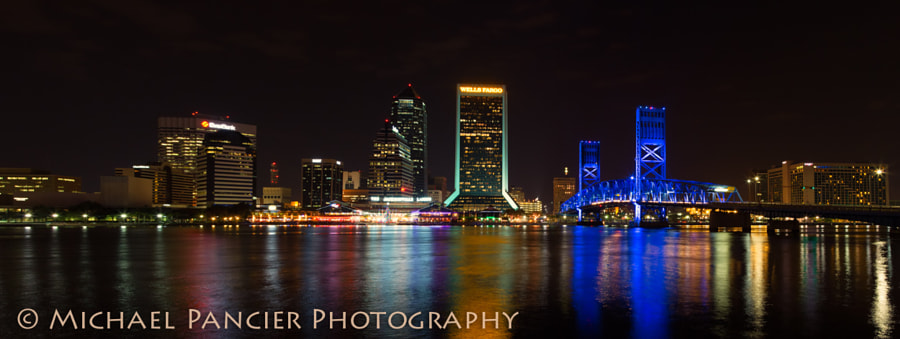Nighttime Panorama of the Downtown Jacksonville Skyline taken from the Friendship Fountain, Downtown Jacksonville