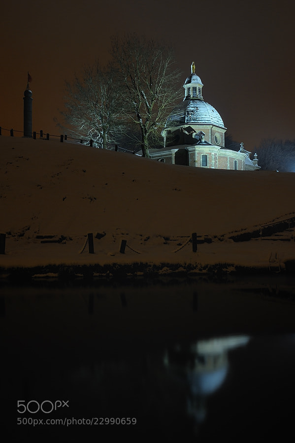 Photograph Chapel and Reflection in pond in snow by night by Jimmy De Taeye on 500px