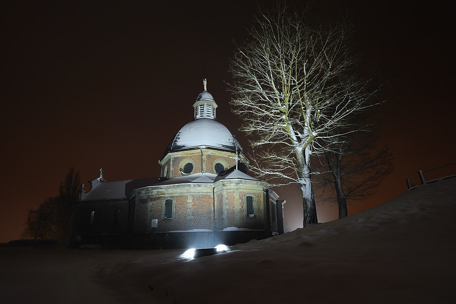 Photograph Chapel in Snow by Night by Jimmy De Taeye on 500px