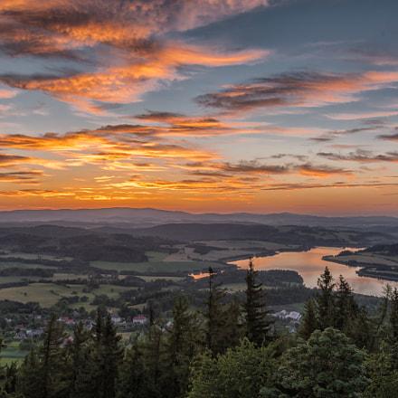 Slezska harta dam after sunset, Czech Republic